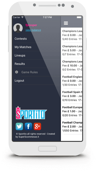 sportito fantasy sports logo tablet